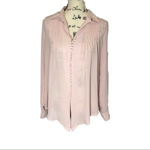 Love Stitch Pleated Button Down See Through Top